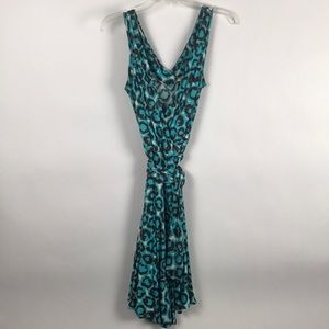 Diane Von Furstenberg Wrap Dress -Aqua/Brown Print